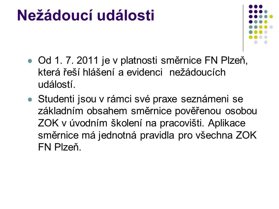 Nežádoucí události Od 1. 7. 2011 je v platnosti směrnice FN Plzeň, která řeší hlášení a evidenci nežádoucích událostí.
