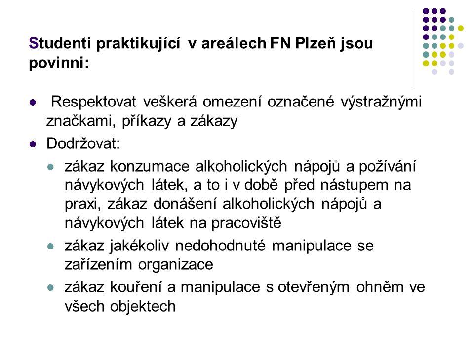Studenti praktikující v areálech FN Plzeň jsou povinni: