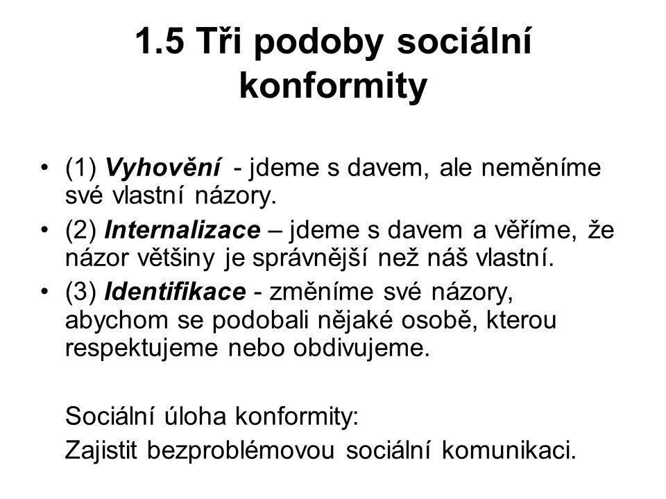 1.5 Tři podoby sociální konformity