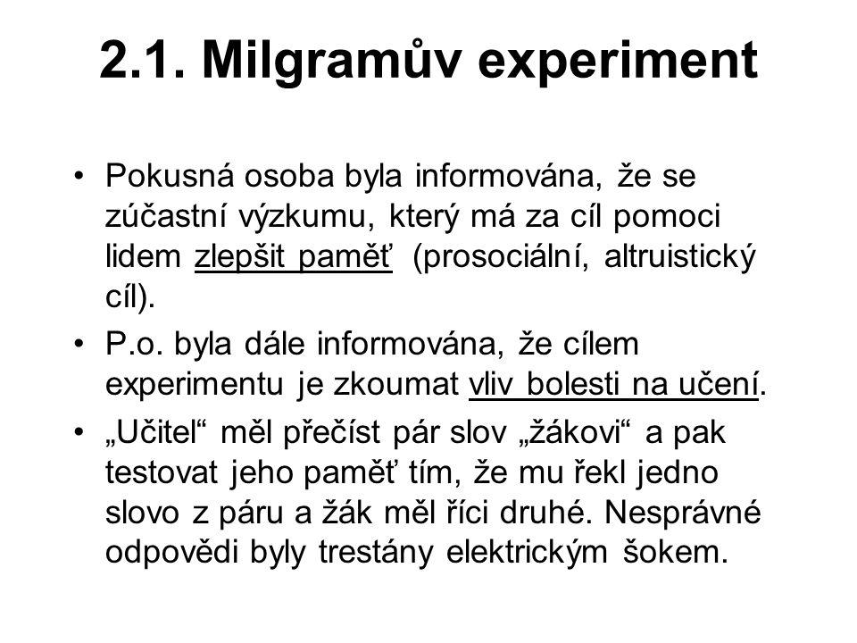 2.1. Milgramův experiment