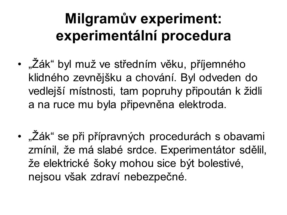 Milgramův experiment: experimentální procedura