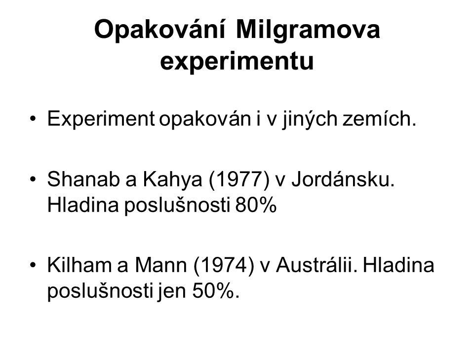 Opakování Milgramova experimentu