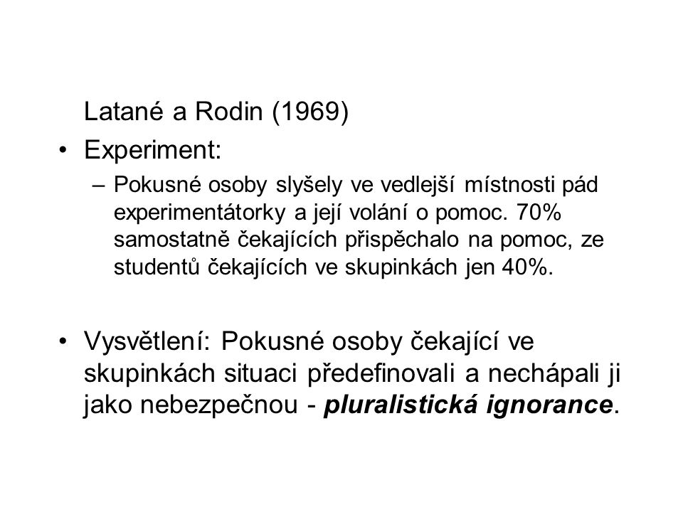 Latané a Rodin (1969) Experiment: