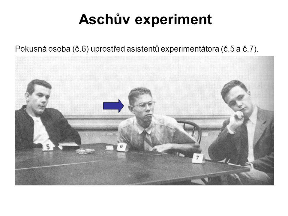 Aschův experiment Pokusná osoba (č.6) uprostřed asistentů experimentátora (č.5 a č.7).