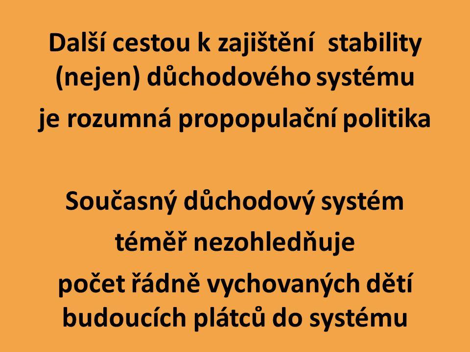Další cestou k zajištění stability (nejen) důchodového systému je rozumná propopulační politika Současný důchodový systém téměř nezohledňuje počet řádně vychovaných dětí budoucích plátců do systému