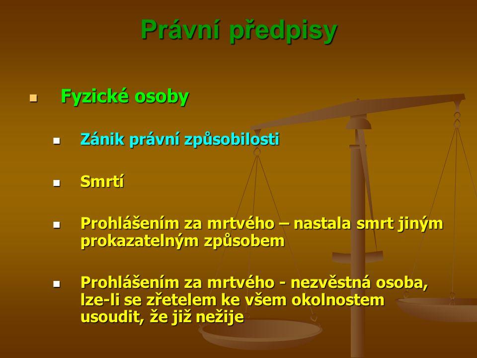 Právní předpisy Fyzické osoby Zánik právní způsobilosti Smrtí