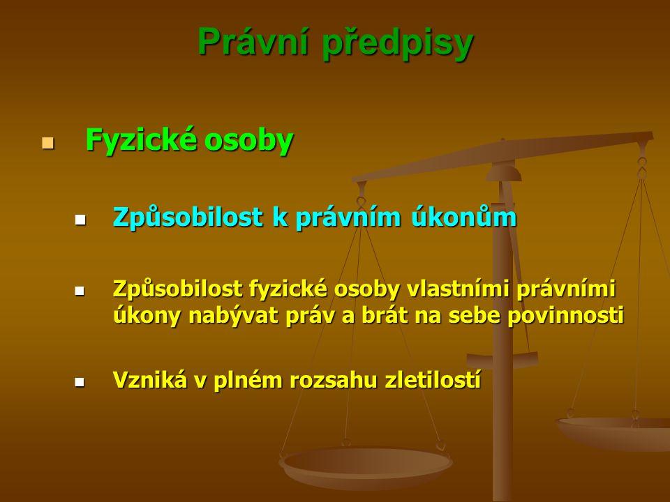 Právní předpisy Fyzické osoby Způsobilost k právním úkonům