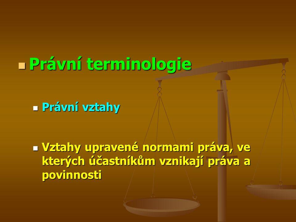 Právní terminologie Právní vztahy