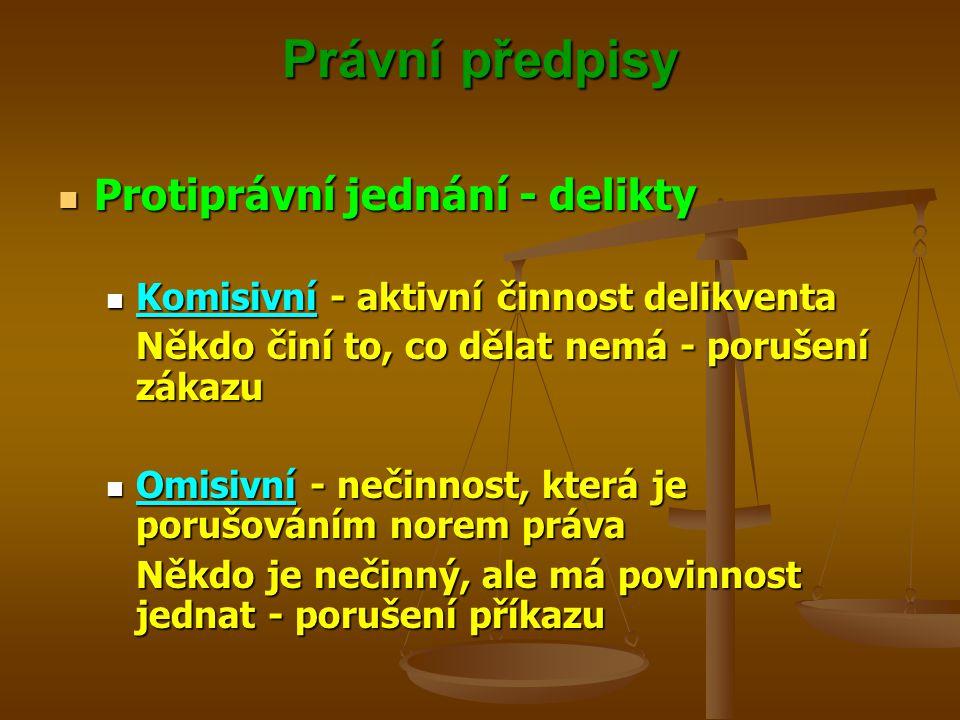 Právní předpisy Protiprávní jednání - delikty