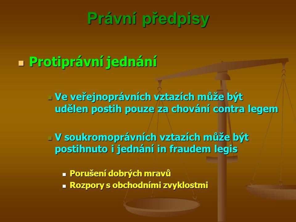 Právní předpisy Protiprávní jednání