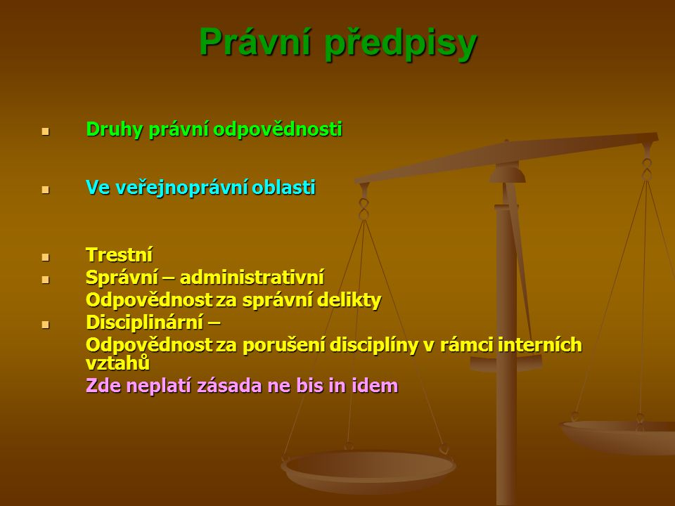 Právní předpisy Druhy právní odpovědnosti Ve veřejnoprávní oblasti