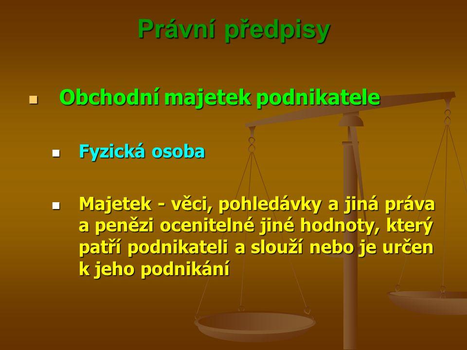 Právní předpisy Obchodní majetek podnikatele Fyzická osoba