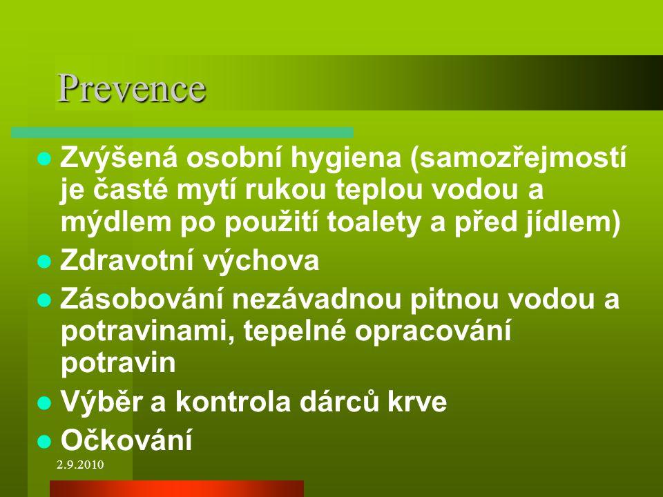 Prevence Zvýšená osobní hygiena (samozřejmostí je časté mytí rukou teplou vodou a mýdlem po použití toalety a před jídlem)