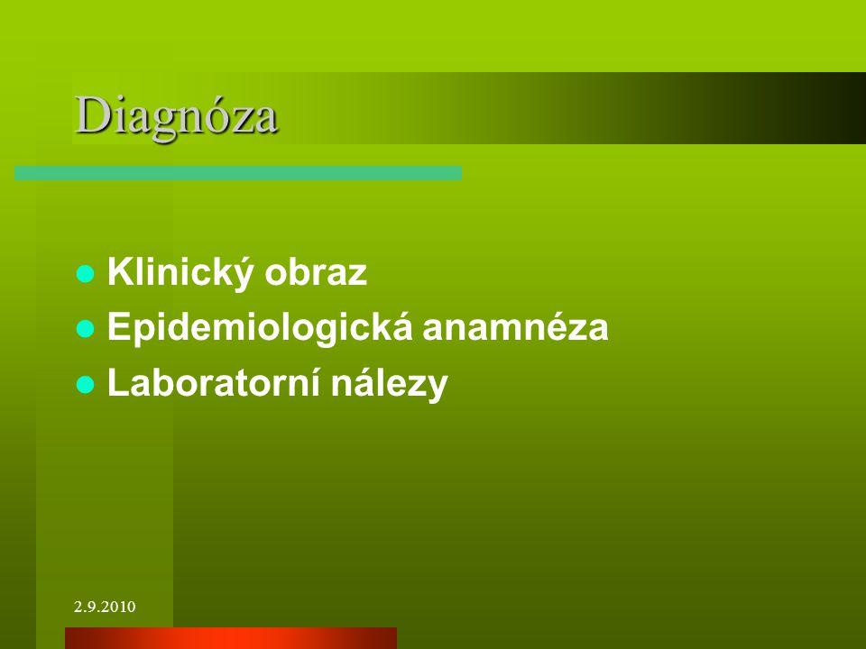 Diagnóza Klinický obraz Epidemiologická anamnéza Laboratorní nálezy