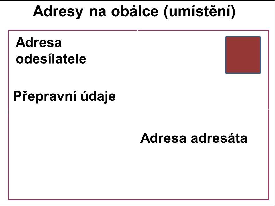 Adresy na obálce (umístění)