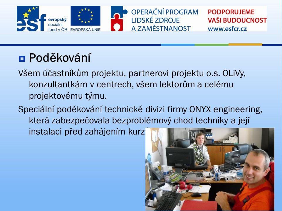 Poděkování Všem účastníkům projektu, partnerovi projektu o.s. OLiVy, konzultantkám v centrech, všem lektorům a celému projektovému týmu.