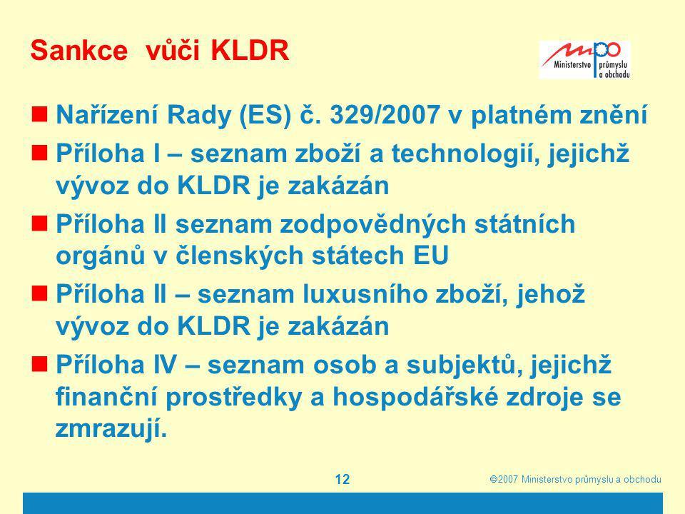 Sankce vůči KLDR Nařízení Rady (ES) č. 329/2007 v platném znění