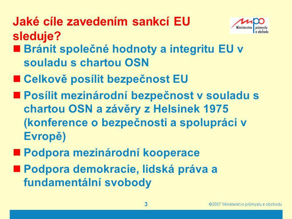 Jaké cíle zavedením sankcí EU sleduje