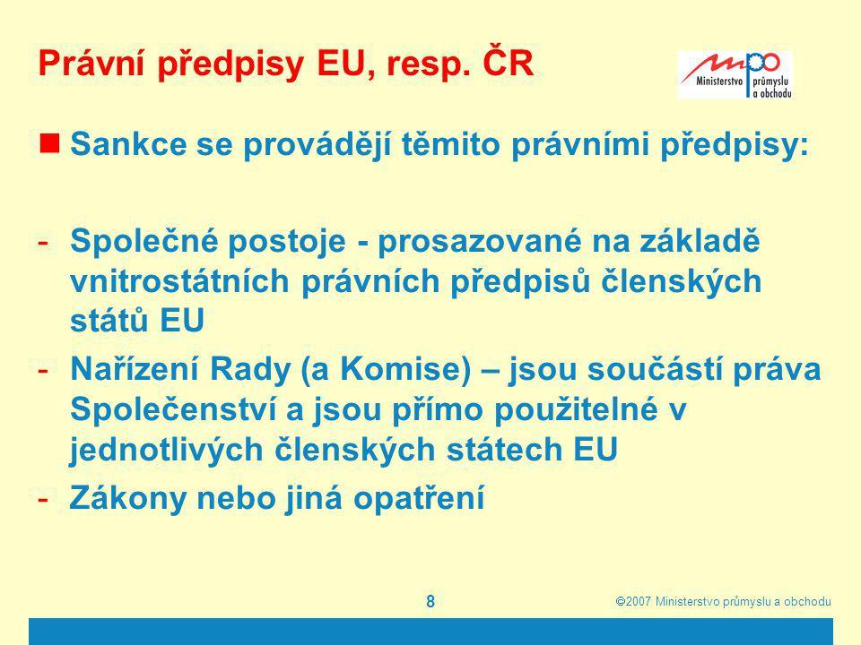 Právní předpisy EU, resp. ČR