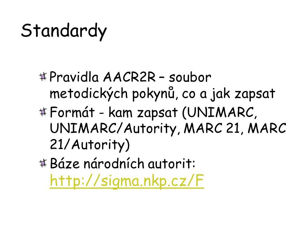 Standardy Pravidla AACR2R – soubor metodických pokynů, co a jak zapsat