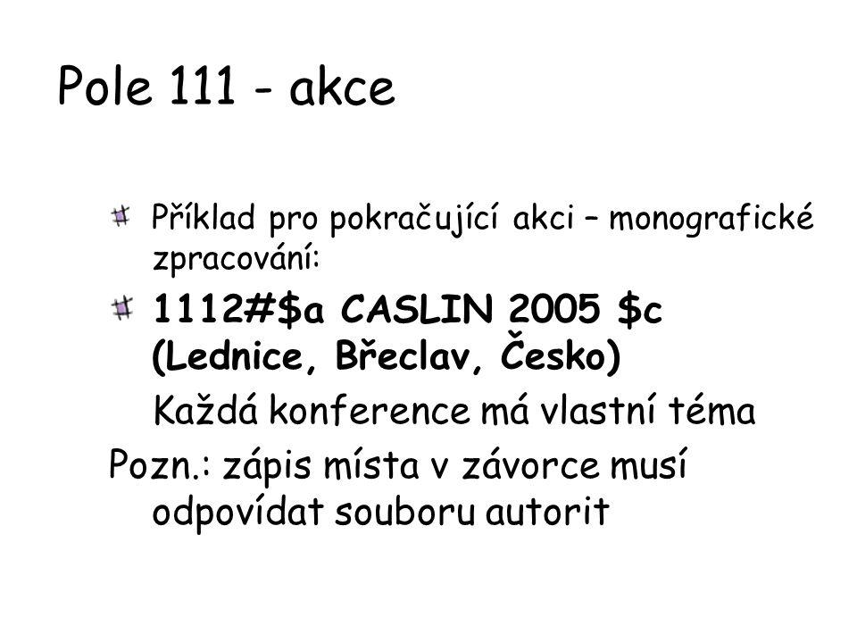Pole 111 - akce 1112#$a CASLIN 2005 $c (Lednice, Břeclav, Česko)