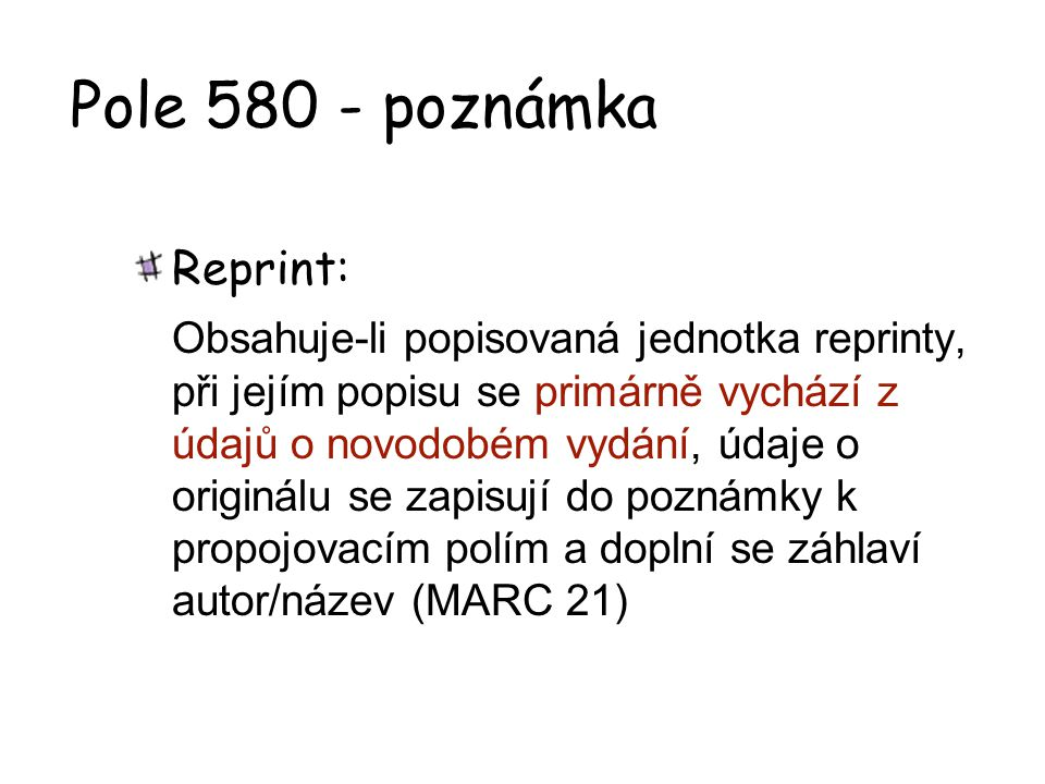 Pole 580 - poznámka Reprint: