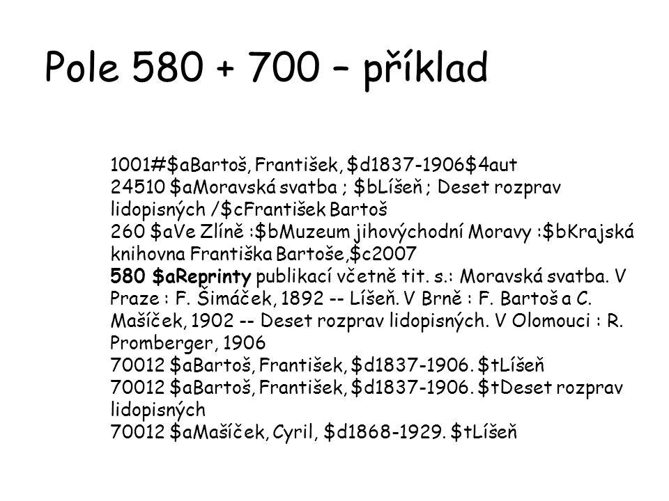 Pole 580 + 700 – příklad