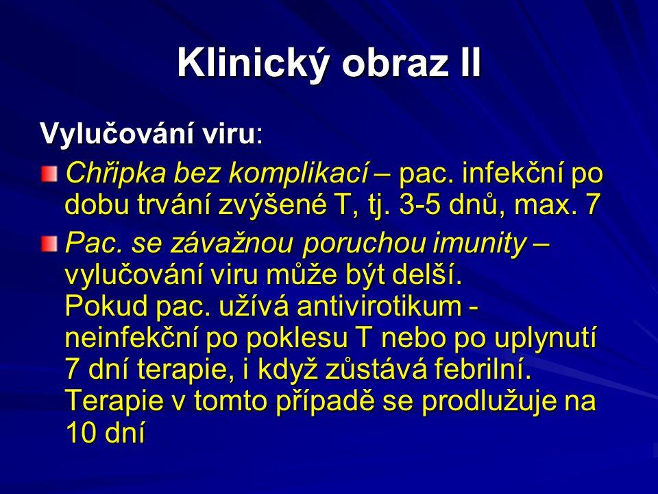 Klinický obraz II Vylučování viru: