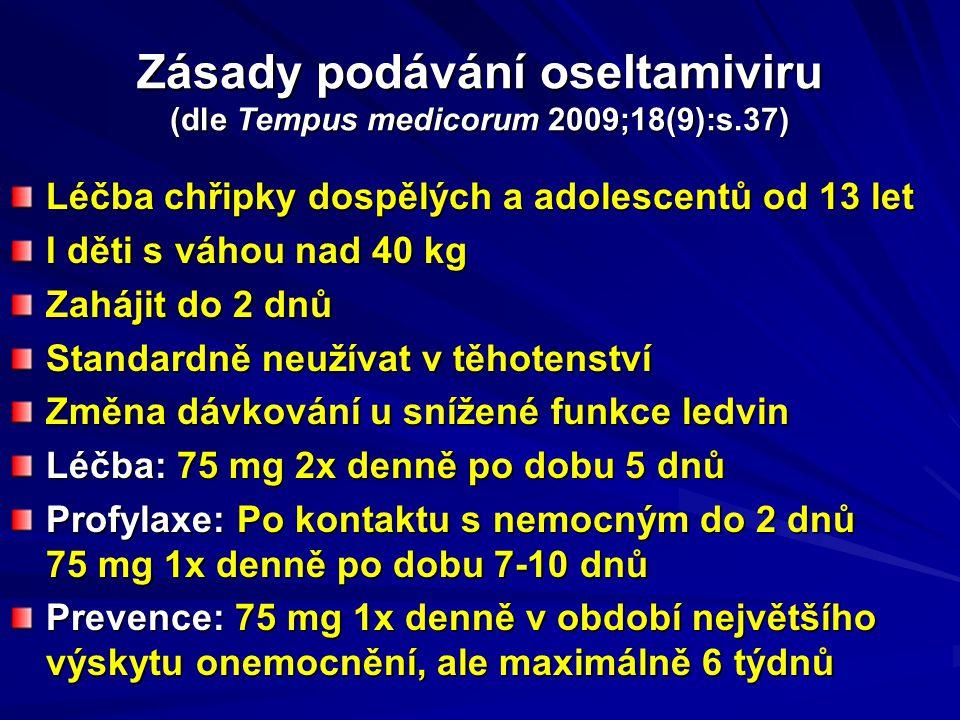 Zásady podávání oseltamiviru (dle Tempus medicorum 2009;18(9):s.37)