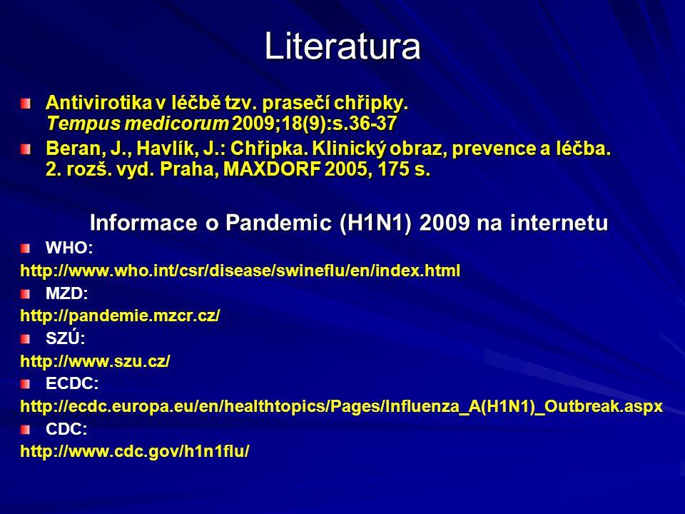 Informace o Pandemic (H1N1) 2009 na internetu