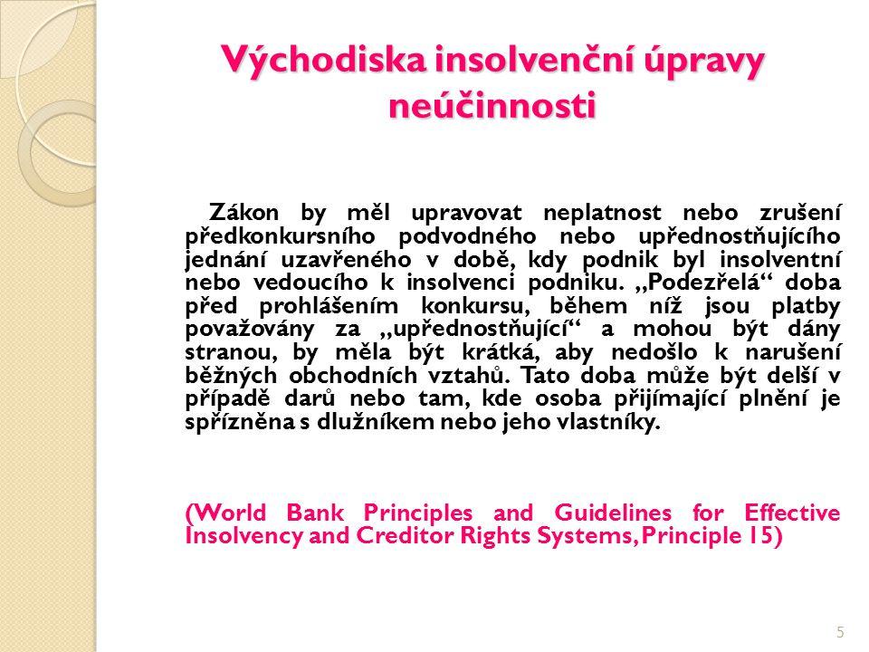 Východiska insolvenční úpravy neúčinnosti