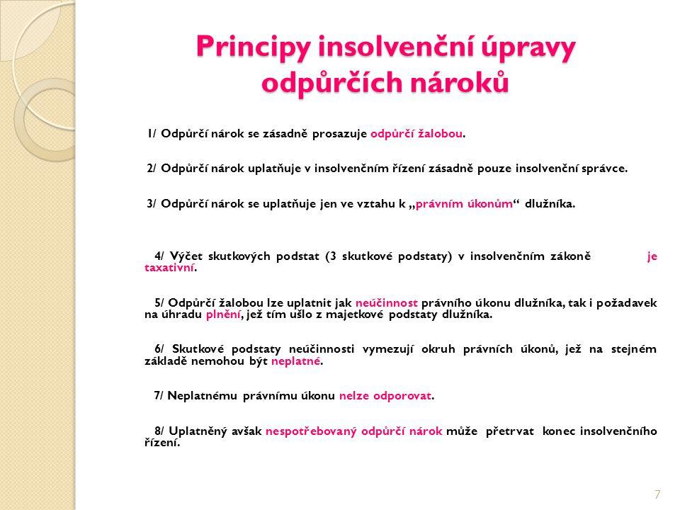 Principy insolvenční úpravy odpůrčích nároků