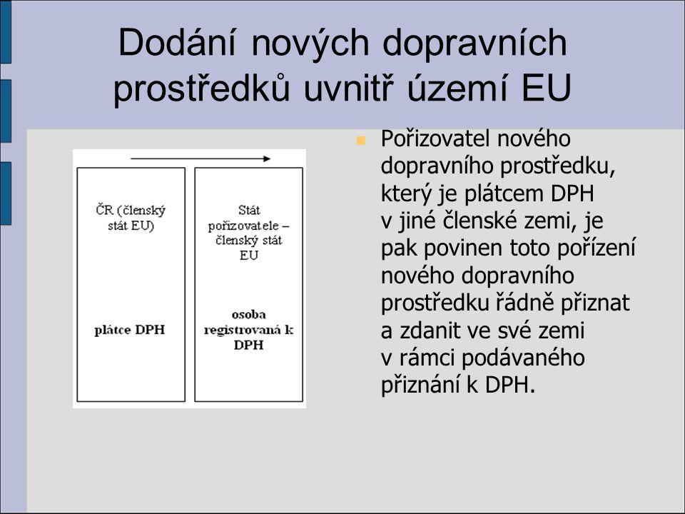 Dodání nových dopravních prostředků uvnitř území EU