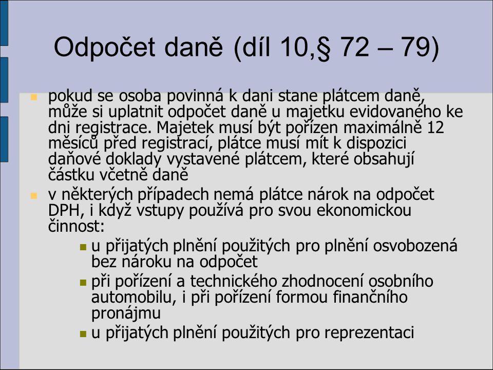 Odpočet daně (díl 10,§ 72 – 79)