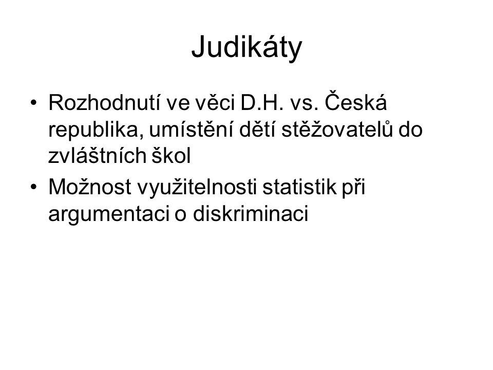 Judikáty Rozhodnutí ve věci D.H. vs. Česká republika, umístění dětí stěžovatelů do zvláštních škol.