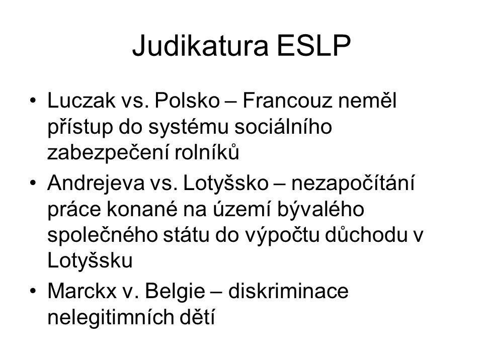 Judikatura ESLP Luczak vs. Polsko – Francouz neměl přístup do systému sociálního zabezpečení rolníků.
