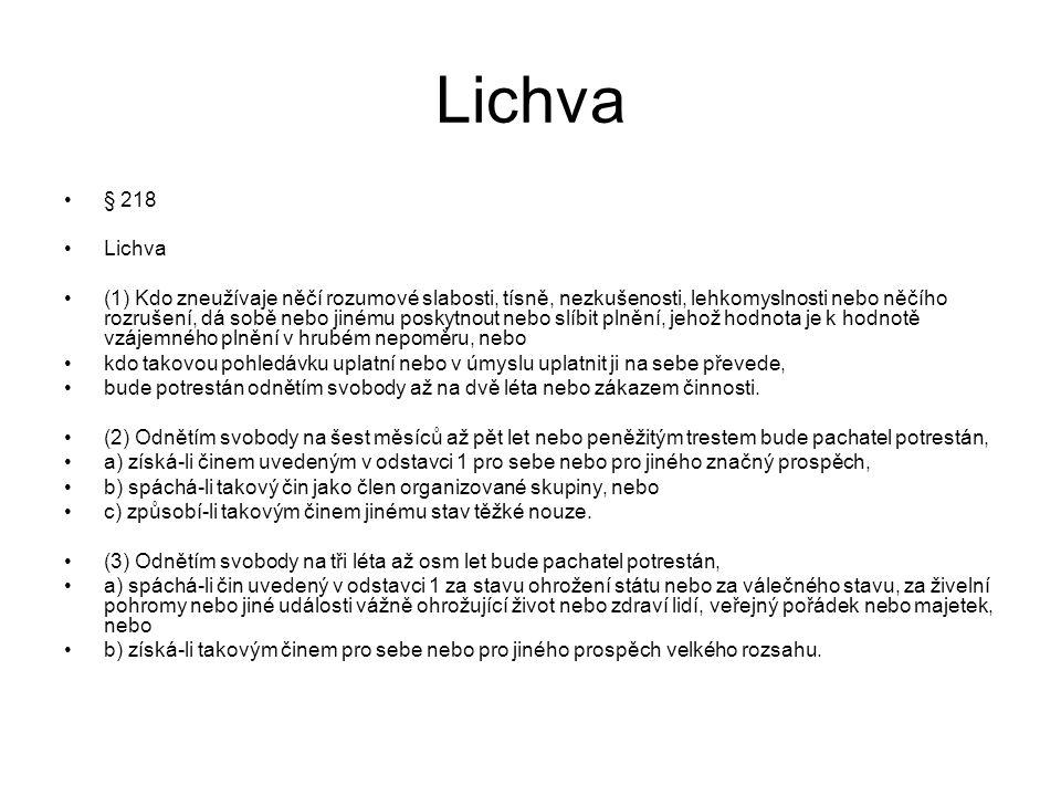 Lichva § 218. Lichva.