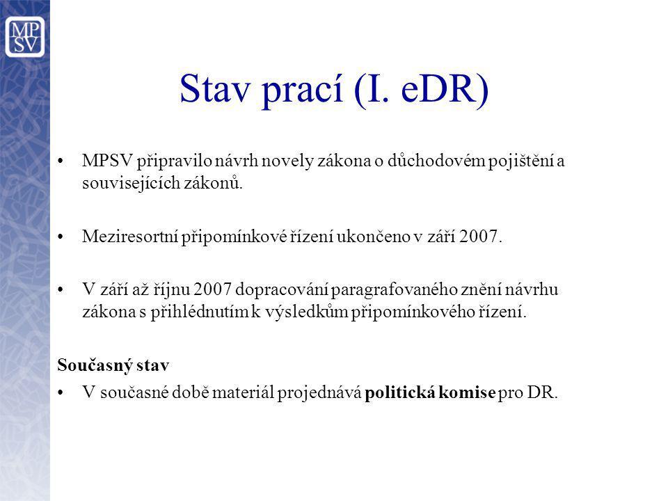 Stav prací (I. eDR) MPSV připravilo návrh novely zákona o důchodovém pojištění a souvisejících zákonů.