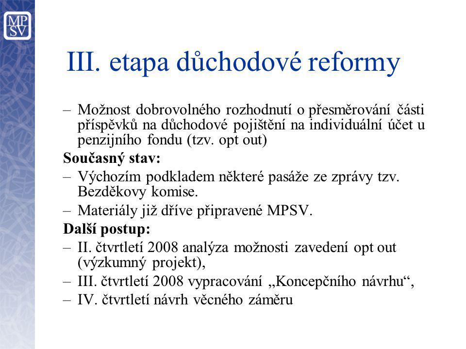 III. etapa důchodové reformy