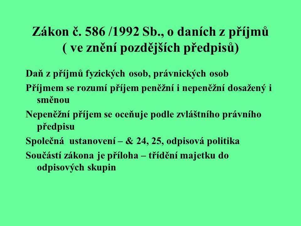 Zákon č. 586 /1992 Sb., o daních z příjmů ( ve znění pozdějších předpisů)