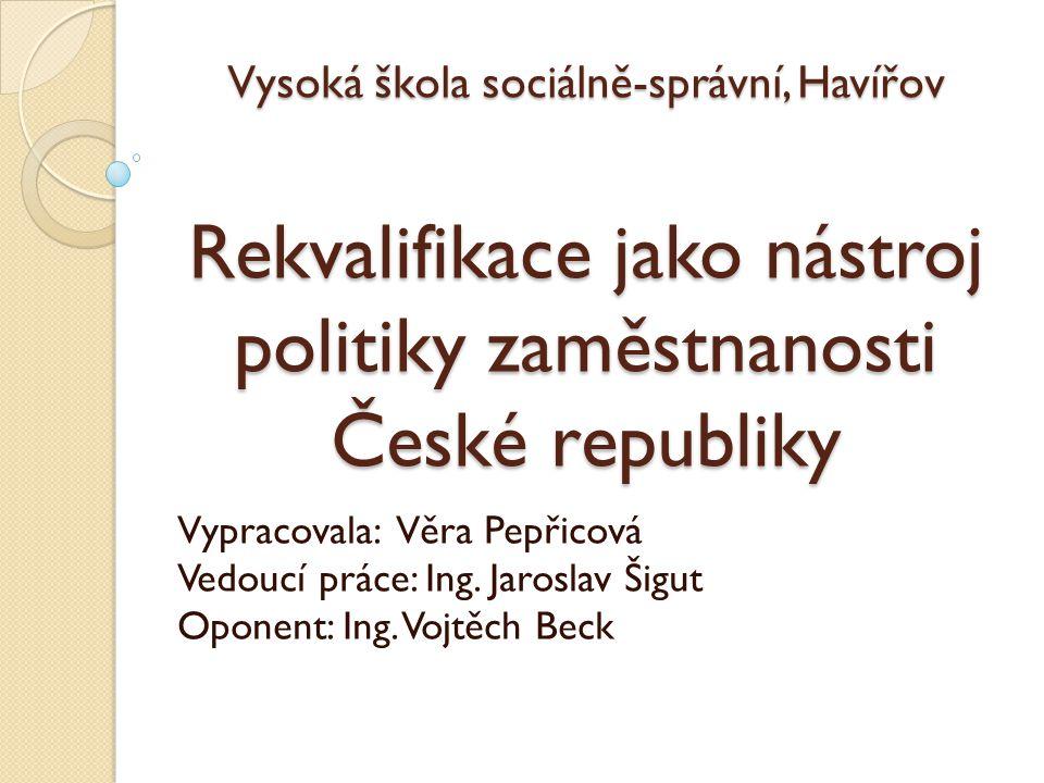 Vysoká škola sociálně-správní, Havířov Rekvalifikace jako nástroj politiky zaměstnanosti České republiky