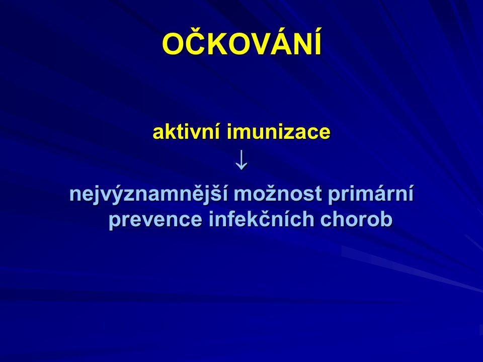 nejvýznamnější možnost primární prevence infekčních chorob
