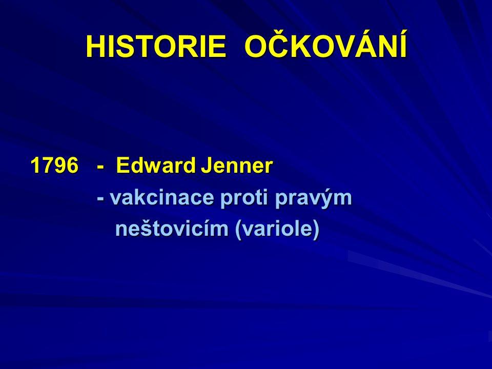 HISTORIE OČKOVÁNÍ 1796 - Edward Jenner - vakcinace proti pravým