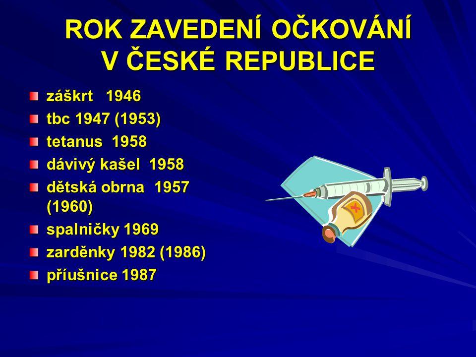 ROK ZAVEDENÍ OČKOVÁNÍ V ČESKÉ REPUBLICE