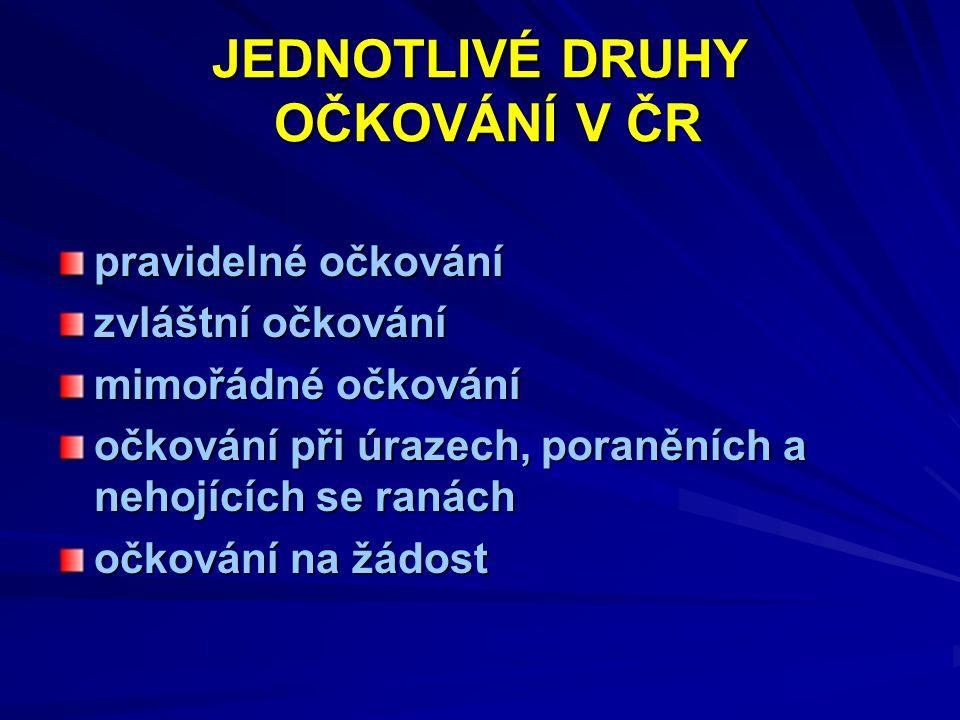 JEDNOTLIVÉ DRUHY OČKOVÁNÍ V ČR