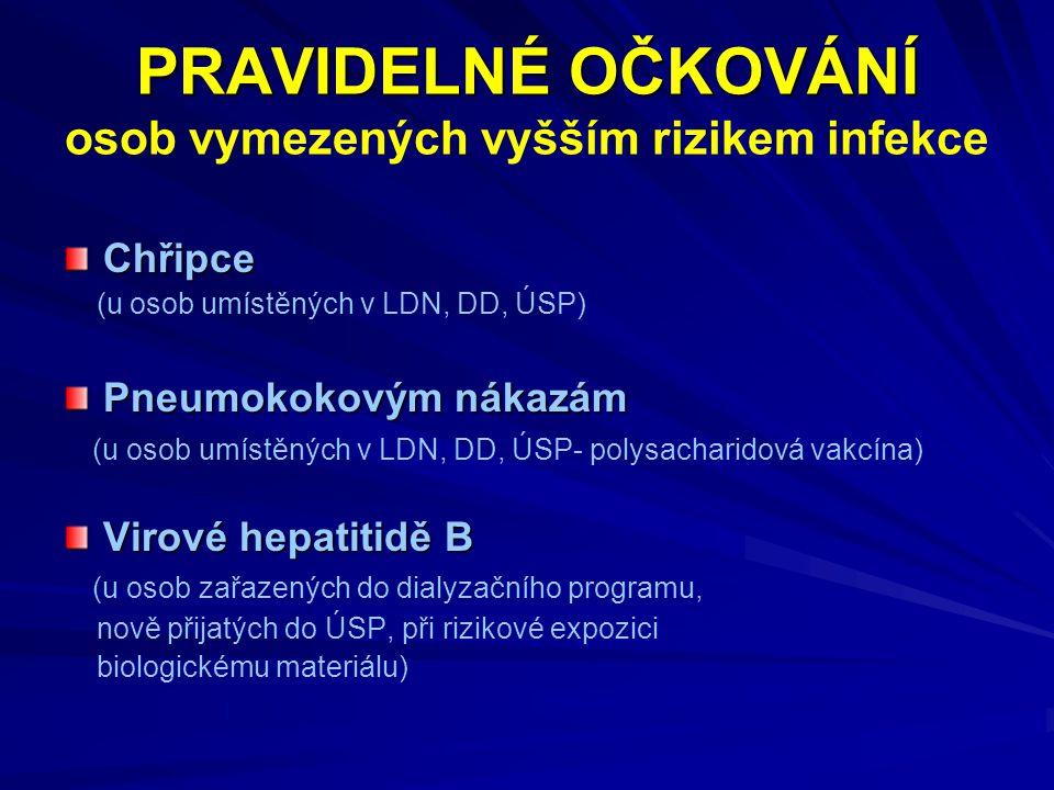 PRAVIDELNÉ OČKOVÁNÍ osob vymezených vyšším rizikem infekce