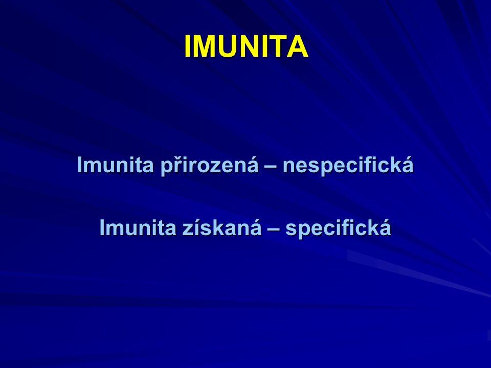Imunita přirozená – nespecifická Imunita získaná – specifická