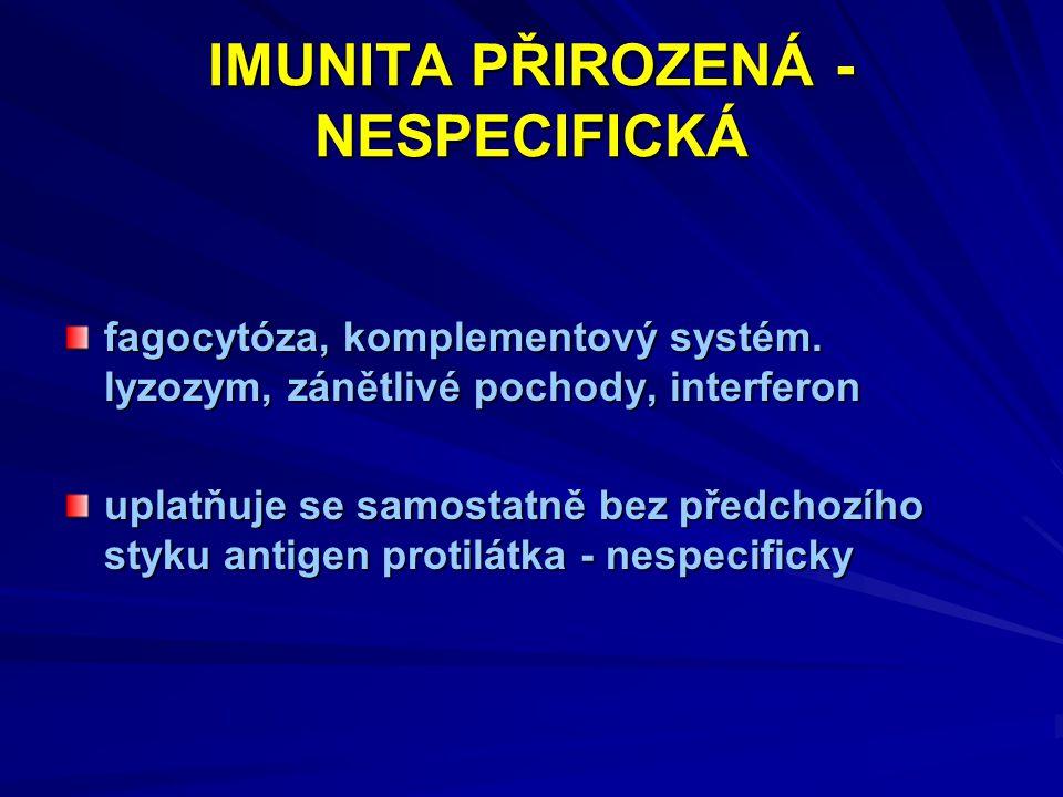 IMUNITA PŘIROZENÁ - NESPECIFICKÁ