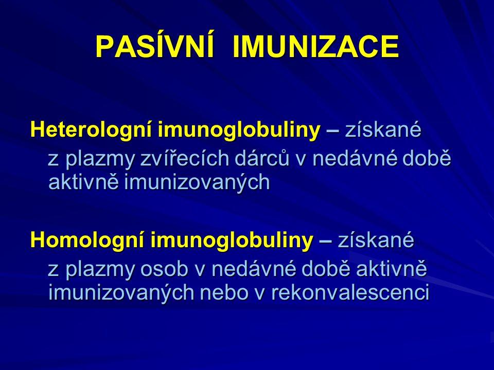 PASÍVNÍ IMUNIZACE Heterologní imunoglobuliny – získané