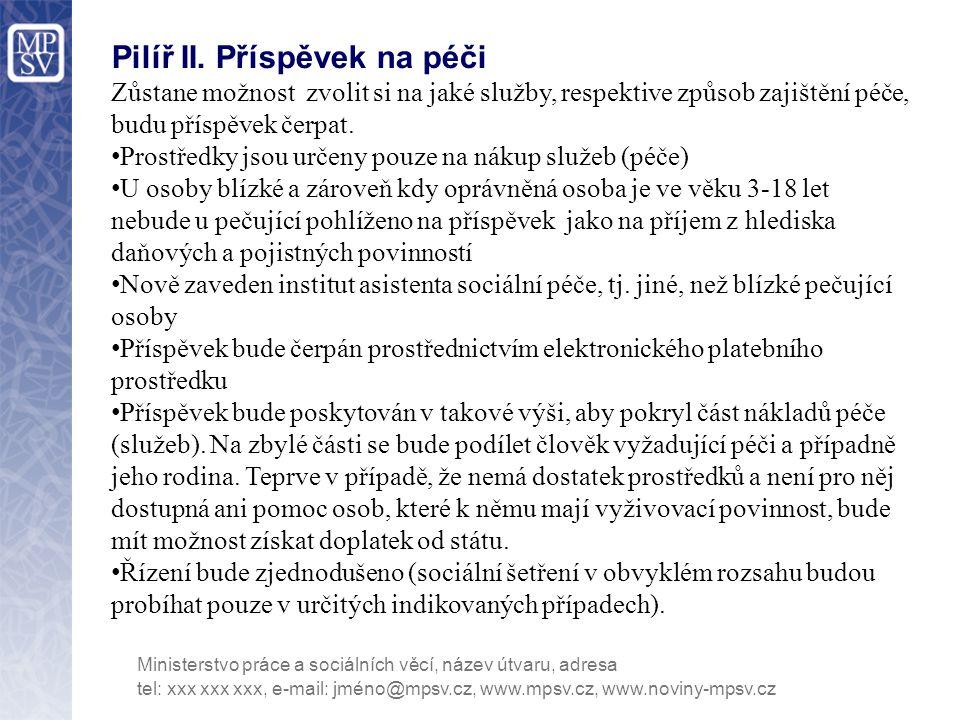 Pilíř II. Příspěvek na péči